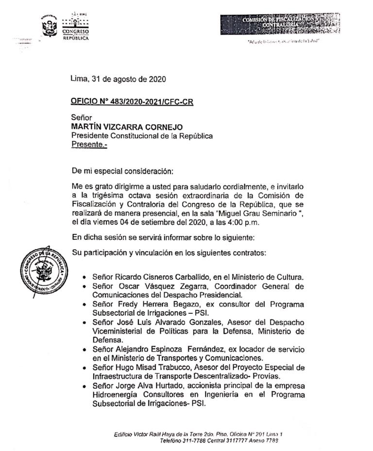 Comisión de Fiscalización cita al presidente Vizcarra