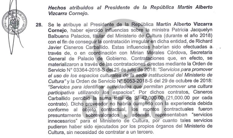 """El informe de la fiscal de la Nación sobre el presidente Vizcarra y el caso """"Richard Swing"""""""