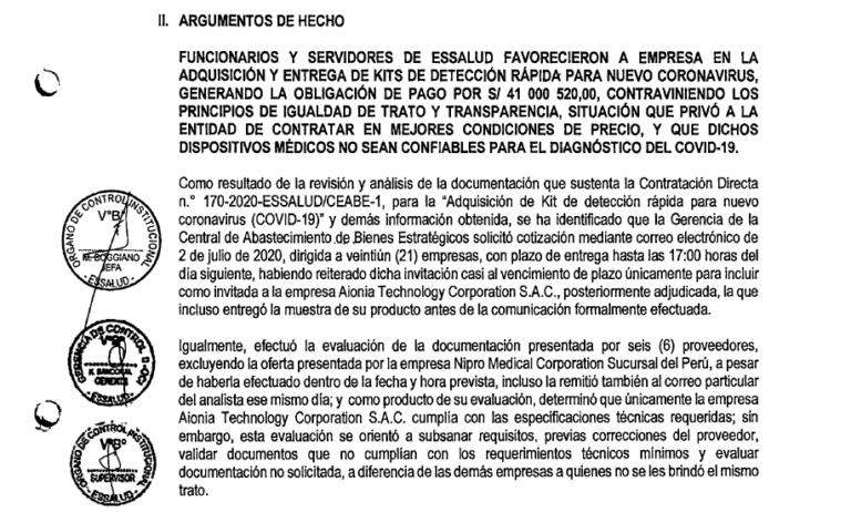 Contraloría: EsSalud direccionó compras de pruebas rápidas