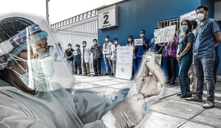 Cuatrocientos médicos residentes del Hospital Almenara fueron vacunados luego de dos días de huelga