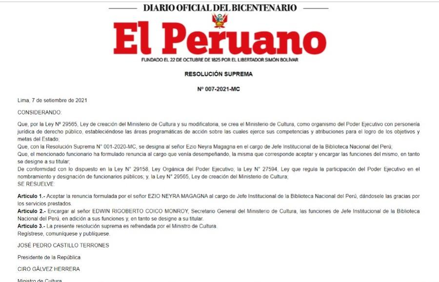 El Peruano. Designación de Edwin Coico en Biblioteca Nacional